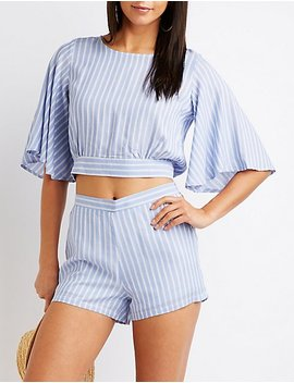 Striped Open Back Crop Top by Charlotte Russe