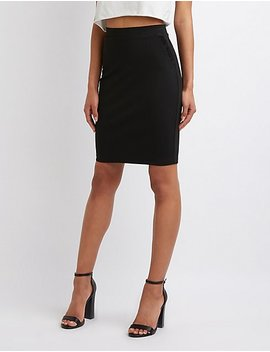 Ruffle Trim Pencil Skirt by Charlotte Russe