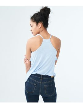 Solid High Neck Ruffle Tank by Aeropostale
