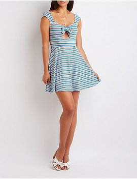 Striped Ribbed Skater Dress by Charlotte Russe