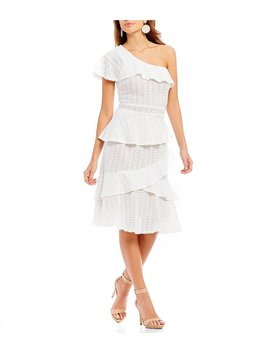 Marina One Shoulder Eyelet Lace Ruffle Detail Midi Dress by Gianni Bini