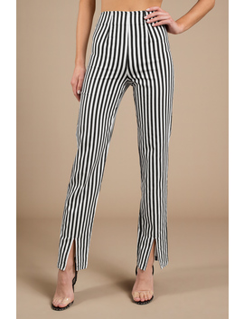 Delia Black & White Stripe High Waisted Pants by Tobi