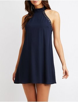 Mock Neck Crochet Shift Dress by Charlotte Russe