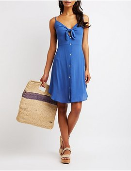 Cut Out Button Up Dress by Charlotte Russe