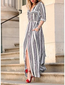 Black Stripe V Neck Thigh Split Detail Long Sleeve Maxi Dress by Choies