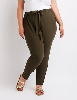 Plus Size Tie Front Skinny Pants by Charlotte Russe