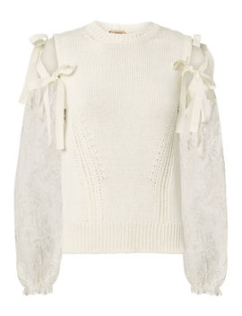 Lace Tie Sleeve Sweater by No. 21