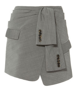 Asymmetric Tie Front Skirt by Alexander Wang