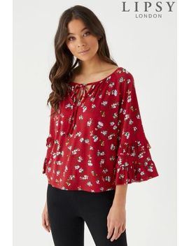 Lipsy Floral Ruffle Keyhole Top by Next