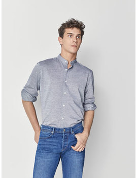 Slim Fit Textured Weave Cotton Shirt by Massimo Dutti