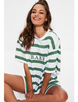 Green Stripe Oversized T Shirt Dress by Missguided