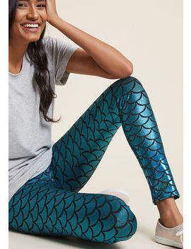 Scales Pitch Leggings In Aqua Scales Pitch Leggings In Aqua by Modcloth