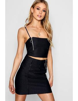 Rebecca Ring Zip Pinstripe Shirt Co Ord Set by Boohoo