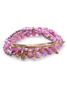 Supak Rose Gold Beaded Bracelet Set In Lilac Mother Of Pearl Mix by Kendra Scott