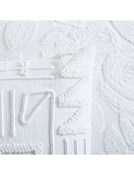 Embroidered White Pillow Covers by West Elm
