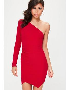 Red One Shoulder Exaggerated Ruched Bodycon Dress by Missguided