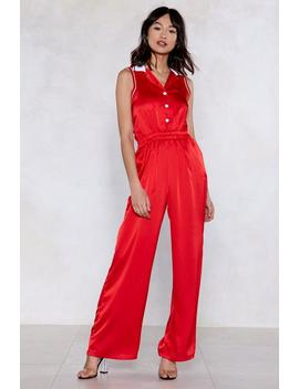 Seeing Red Satin Jumpsuit by Nasty Gal