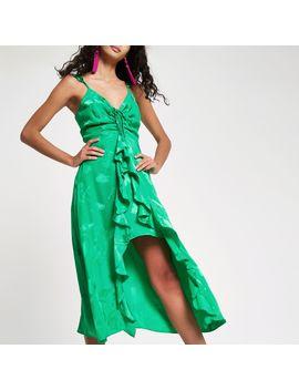 Bright Green Jacquard Frill Slip Dress by River Island