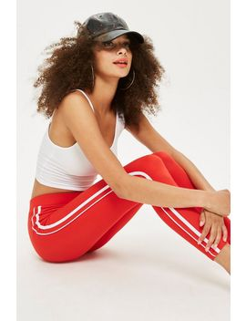 Red Side Striped Leggings by Topshop