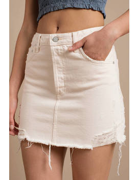 Boyish Jeans The Corey White Distressed Denim Skirt by Tobi