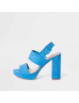 Blue Double Strap Heel Platform Sandals by River Island