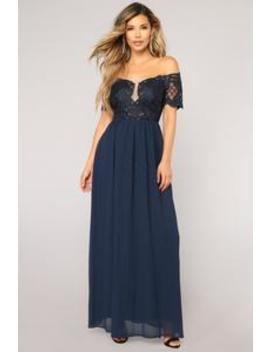 French Quarter Embroidered Dress   Navy by Fashion Nova