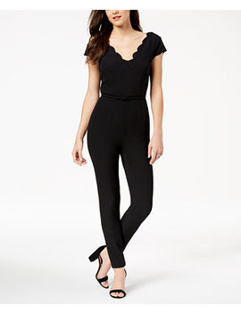 Belted Scalloped Jumpsuit by Adrianna Papell