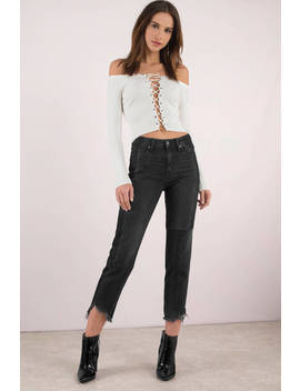 Hidden Jeans Ayla Black Two Tone Denim Pants by Tobi