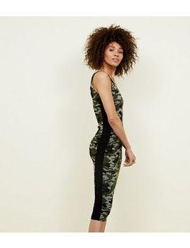 Khaki Camo Stripe Side Bodycon Midi Dress by New Look