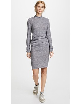 Ruched Mock Neck Dress by Lanston