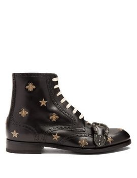 Embroidered Lace Up Leather Brogue Boots by Gucci