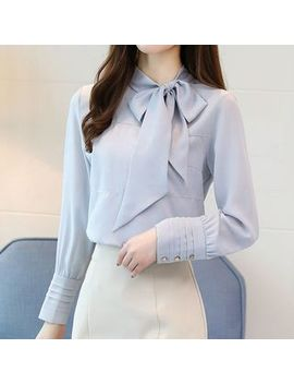 Bow Accent Chiffon Blouse by Fashion Street