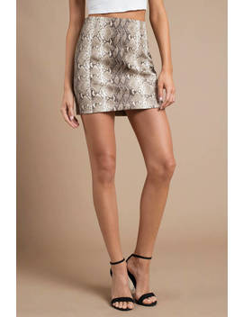 Slave For You Taupe Snakeskin Print Skirt by Tobi