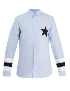 Star Appliqué Point Collar Cotton Shirt by Givenchy