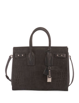 Sac De Jour Small Croco Carryall Bag by Saint Laurent