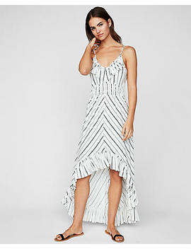 Petite Striped Ruffle Smocked Waist Maxi Dress by Express