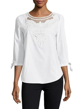 Lace Embroidered Bell Sleeve Top by Ivanka Trump