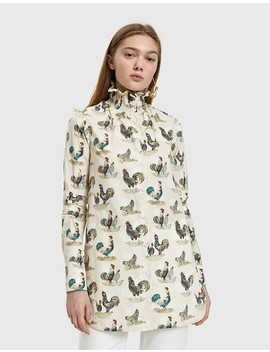 Smocked Collar Rooster Print Top by Need Supply Co.