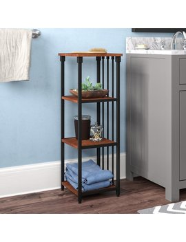 "Winston Porter Tammy Mixed Material 4 Tier 12"" W X 35"" H Bathroom Shelf & Reviews by Winston Porter"