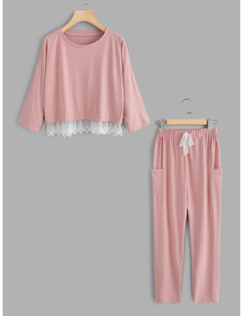 Lace Hem Pullover Pajama Set by Sheinside