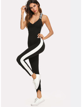 Colorblock Panel Crisscross Letter Print Strap Jumpsuit by Shein