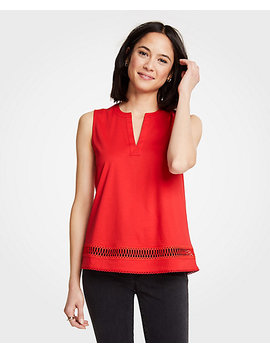 Lace Trim Split Neck Shell by Ann Taylor