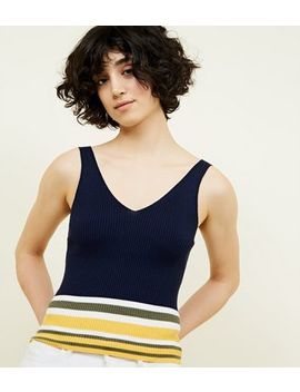 Navy Colour Block Stripe Knitted Vest by New Look