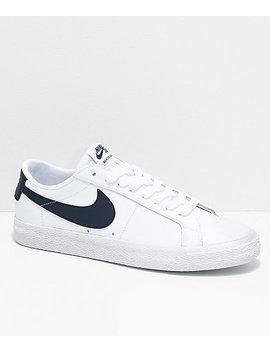 Nike Sb Blazer Zoom Low White &Amp; Obsidian Leather Skate Shoes by Nike Sb