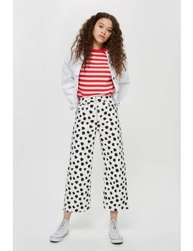 Petite Spot Cropped Wide Leg Jeans by Topshop