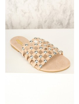 Sexy Nude Cage Vamp Slip On Sandals Faux Suede by Ami Clubwear