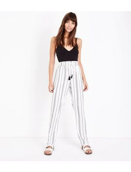 Tall White Stripe Joggers by New Look