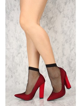 Sexy Red Fishnet Mid Calf Chunky Heels Single Soles by Ami Clubwear