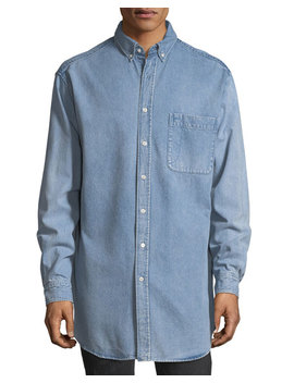 Oversized Back Logo Denim Shirt by Balenciaga
