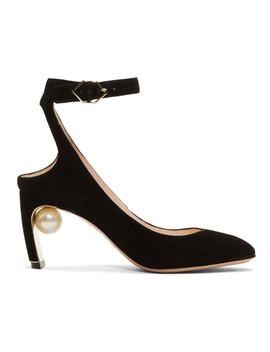 Black Suede Lola Pearl Heels by Nicholas Kirkwood